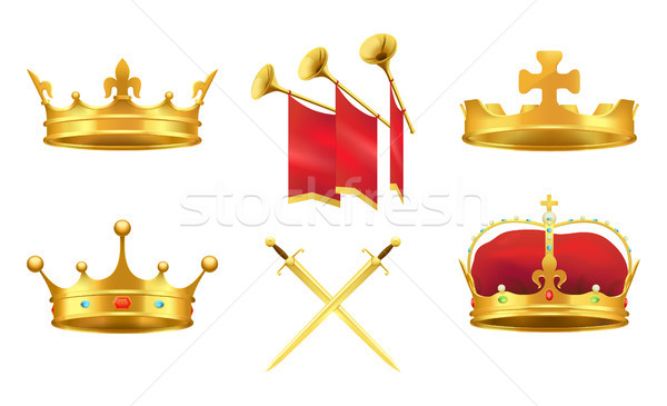Gold Kings Medieval Attributes Illustrations Set Stock photo © robuart