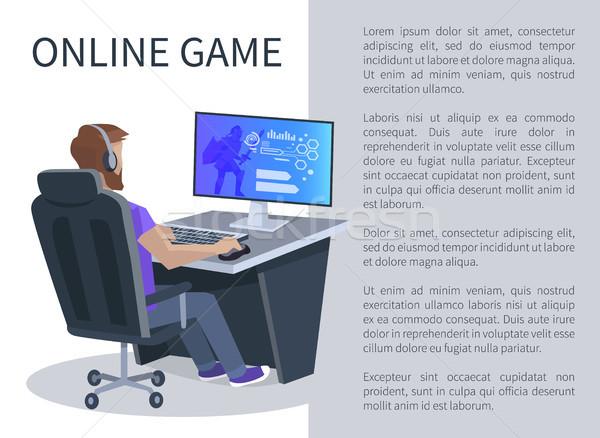 Online számítógépes játékok poszter férfi játszik játékok Stock fotó © robuart