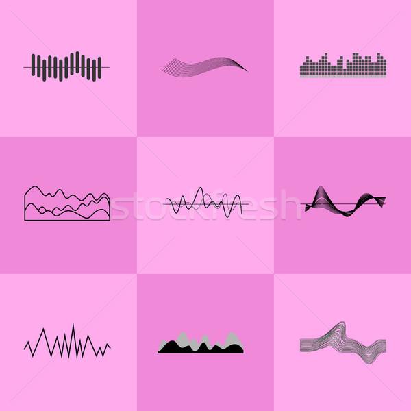 Set of Black Charts on Vector Illustration Pink Stock photo © robuart