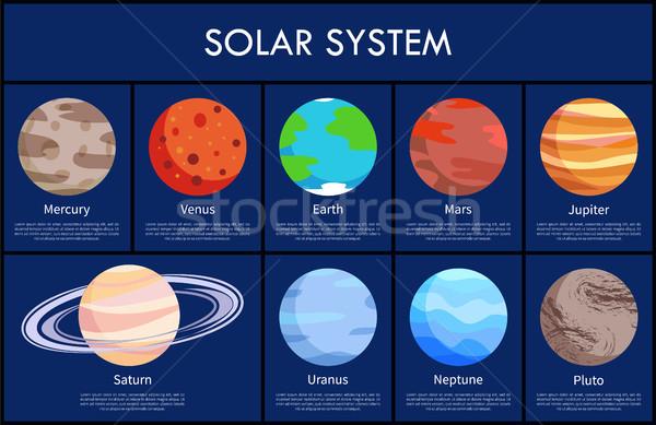 Sistema solar informação objetos texto amostra manchete Foto stock © robuart