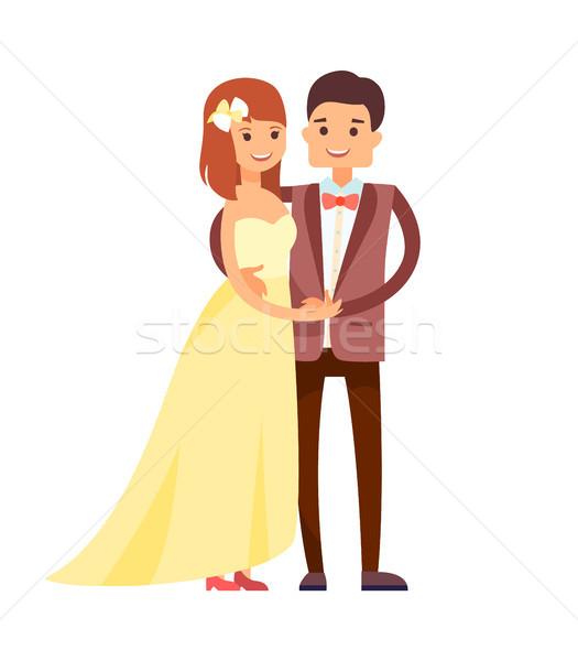 Szczęśliwy nowożeńcy cute garnitury kobieta żółty Zdjęcia stock © robuart