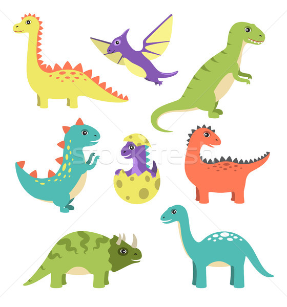 Creatures Types of Dinosaurs Vector Illustration Stock photo © robuart