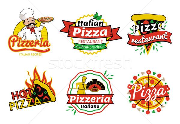 Pizzería pizza restaurante establecer auténtico recetas Foto stock © robuart