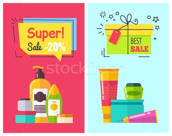 Super Sale -20 Posters Set Vector Illustration Stock photo © robuart