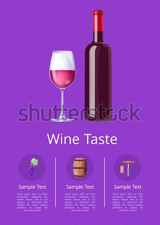 Wine Tasting Poster Bottle Burgundy Wine and Glass Stock photo © robuart