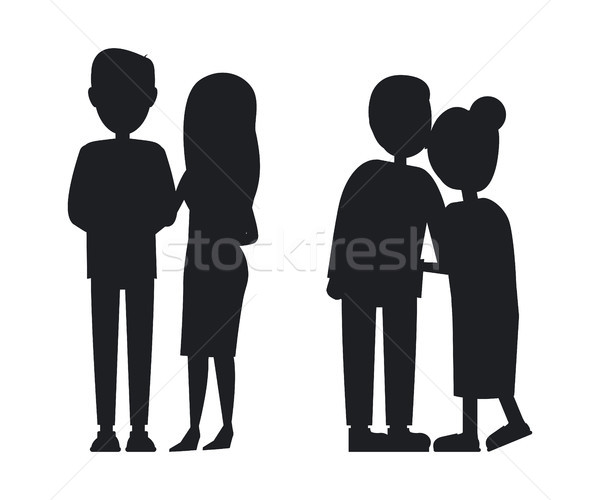 Stock photo: Young and Old Familys Silhouettes Abstrac Banner