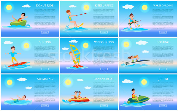 Surfing and Jet Ski, Swimming and Donut Ride Cards Stock photo © robuart