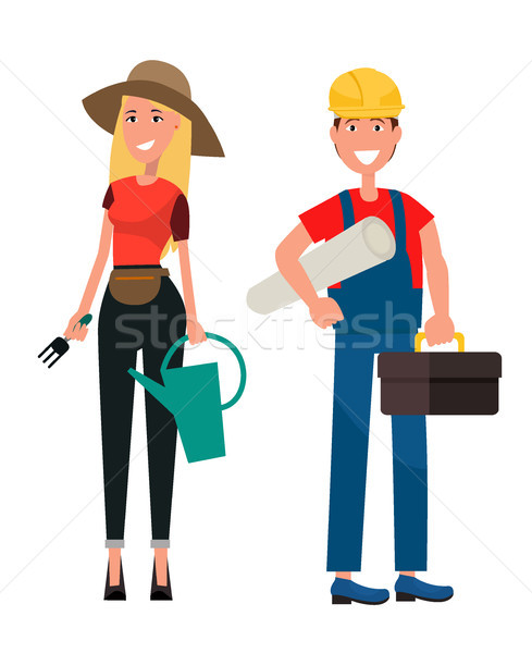 Set of Gardener Woman and Builder Man Flat Design Stock photo © robuart