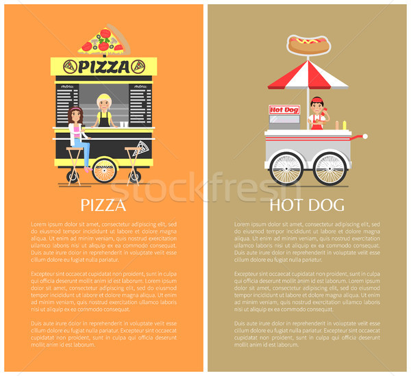 Pizza and Hot Dog Mobile Shops Vector Illustration Stock photo © robuart