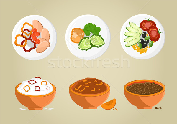 Porridge Bowls Collection Vector Illustration Stock photo © robuart