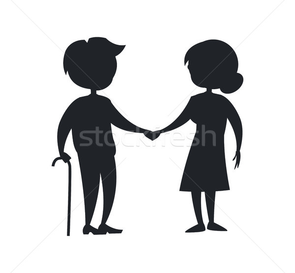 Happy Grandparents Lady and Gentleman with Stick Stock photo © robuart