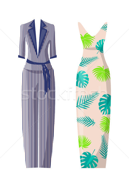 Striped Costume and Dress with Floral Print Set Stock photo © robuart