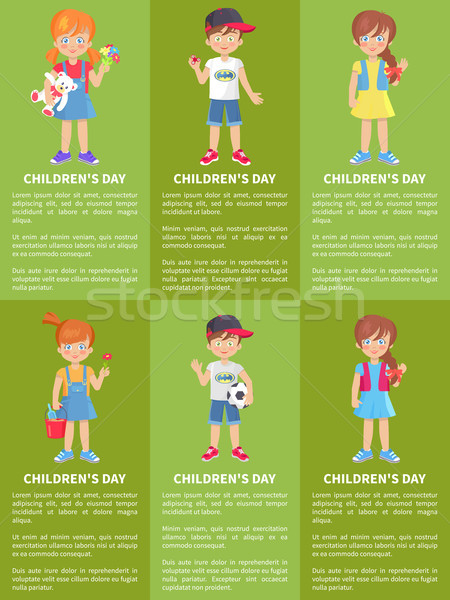 Childrens Day Web Banners with Boys and Girls Fun Stock photo © robuart