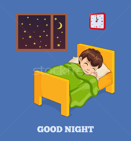 Good Night Poster wiith Boy in Bed under Blanket Stock photo © robuart