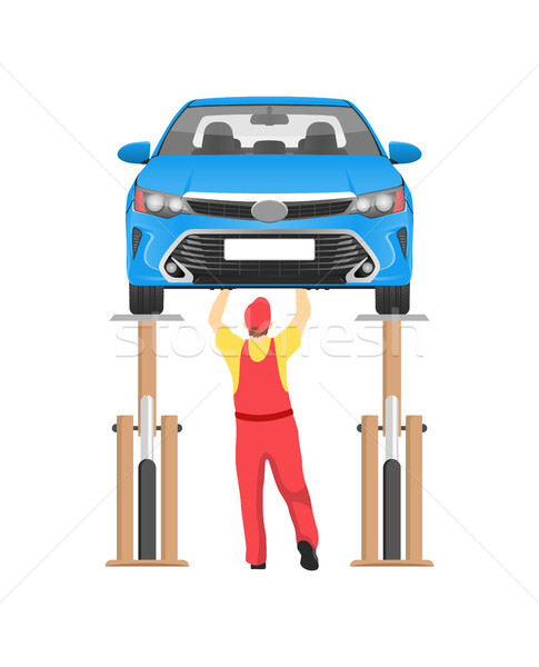 Vehicle on Inspection in Auto Service Vector Card Stock photo © robuart