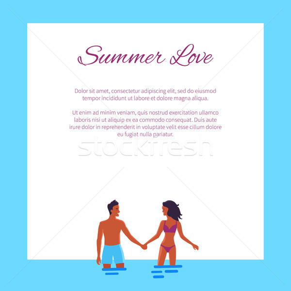 Summer Love Affair Banner with Couple Add Text Stock photo © robuart