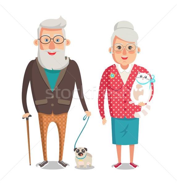 Avó avô caminhada cão bom tempo Foto stock © robuart