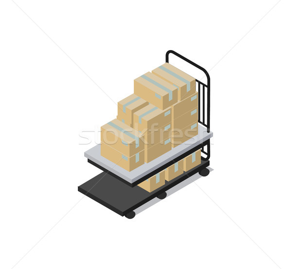 Cart Loaded with Boxes Factory Vector Illustration Stock photo © robuart