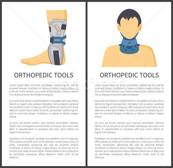 Ortopédico ferramentas pôsteres conjunto pescoço pé Foto stock © robuart