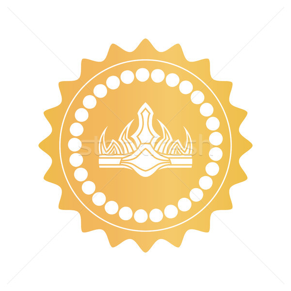 Ancient Crown on Royal Quality Mark of Gold Color Stock photo © robuart