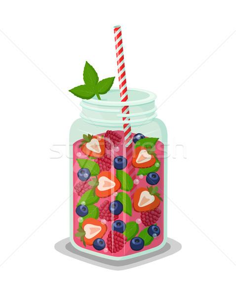 Mug of Refreshing Drink Fresh Strawberry Cocktail Stock photo © robuart