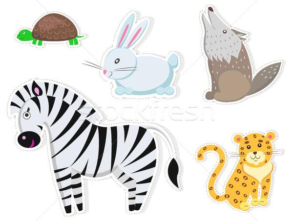 Vriendelijk cartoon wilde dieren geïsoleerd stickers witte Stockfoto © robuart