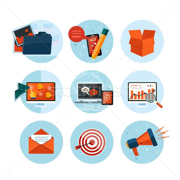 Foto d'archivio: Business · ufficio · marketing · icone · web · design · oggetti