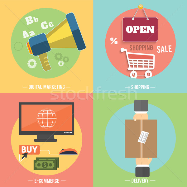 Icons for e-commerce, delivery, online shopoing. Stock photo © robuart