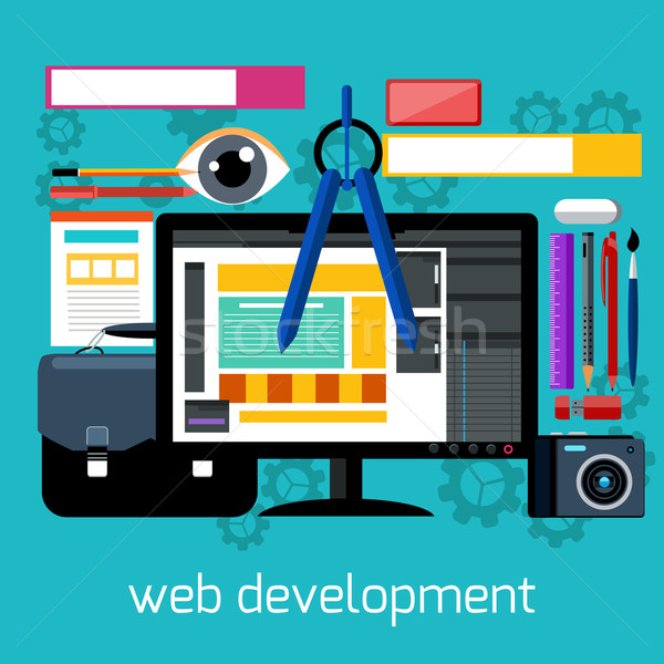 Web design and development flat concept Stock photo © robuart