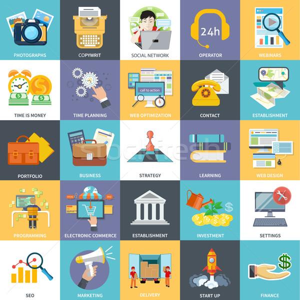 Fő- üzlet tevékenységek alkotóelemek szett modern Stock fotó © robuart