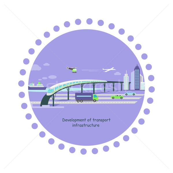 развития транспорт инфраструктура икона автомобилей будущем Сток-фото © robuart