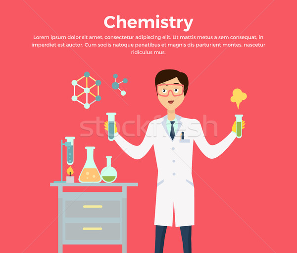 Chemistry Banner Concept Flat Style Stock photo © robuart