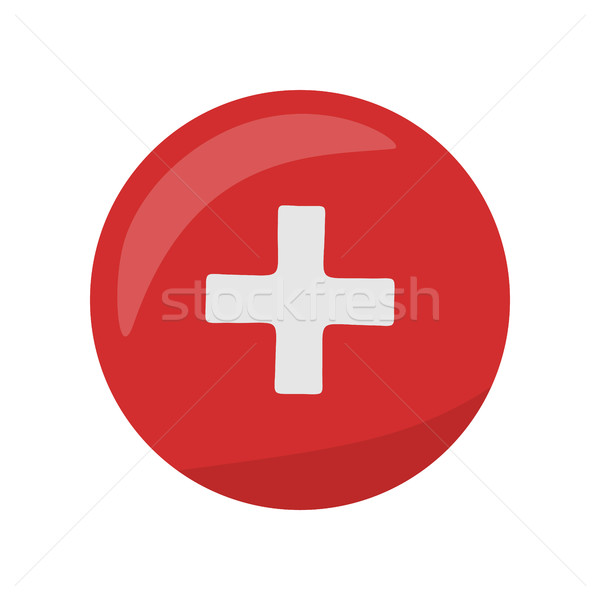 Red Cross Icon on Button. First Medical Aid Sign Stock photo © robuart