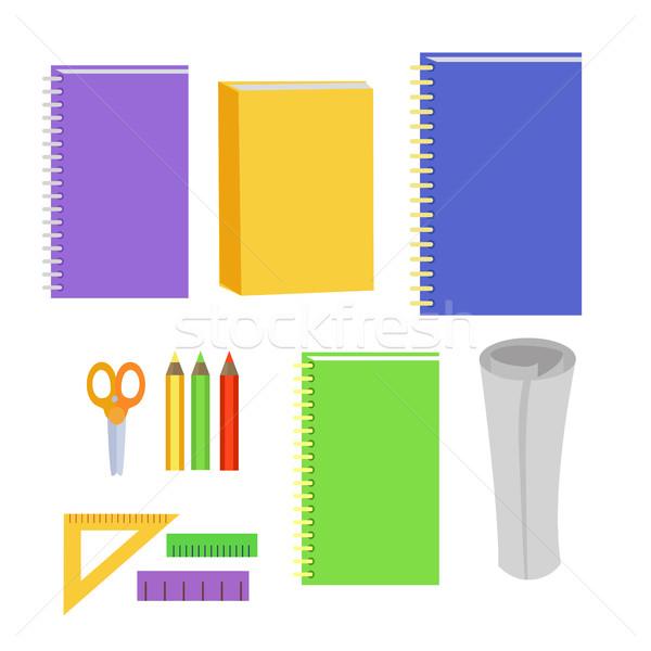 Zestaw materiały biurowe biuro elementy pracy narzędzia Zdjęcia stock © robuart
