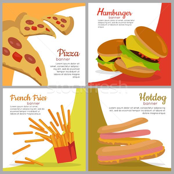 Ayarlamak afişler sağlıksız gıda pizza hamburger Stok fotoğraf © robuart