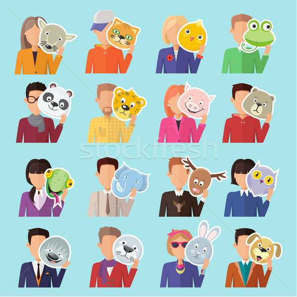Set of People with Animal Masks Flat Design Vector Stock photo © robuart