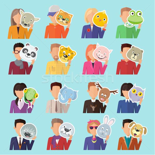 Zestaw ludzi zwierząt maski projektu wektora Zdjęcia stock © robuart