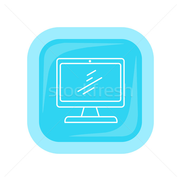 Desktop Computer Icon Button Isolated on White Stock photo © robuart