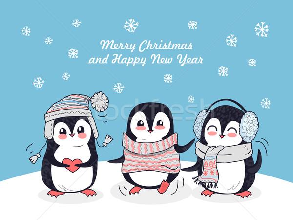 Alegre natal feliz ano novo cartaz feliz inverno Foto stock © robuart
