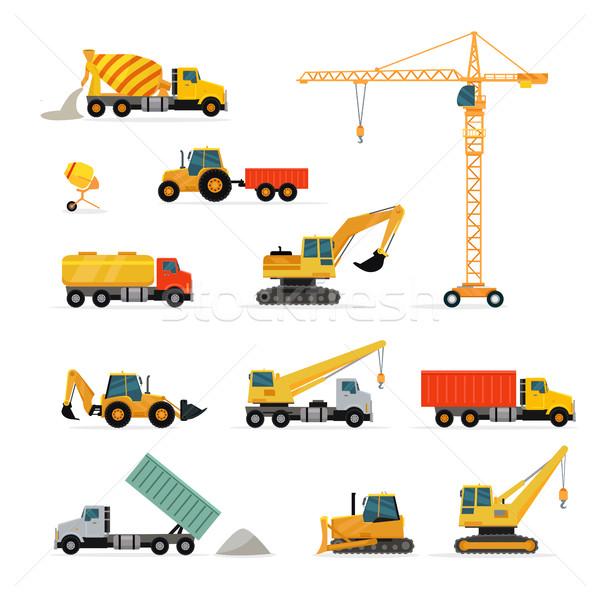 Set of Heavy Construction Machines Illustrations Stock photo © robuart
