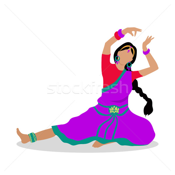 Woman in Indian National Clothes Dance Vector Stock photo © robuart