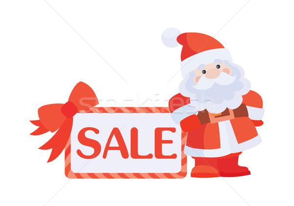 Christmas sprzedaży wektora ikona Święty mikołaj plakat Zdjęcia stock © robuart
