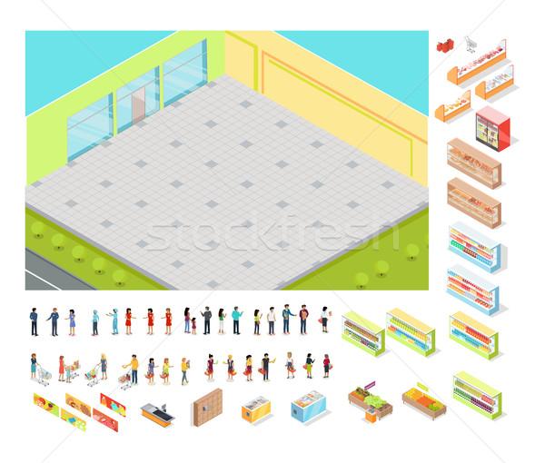 áruház ikon gyűjtemény izolált elemek emberek étel Stock fotó © robuart