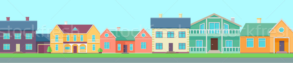 Row of Houses Along the Street Stock photo © robuart