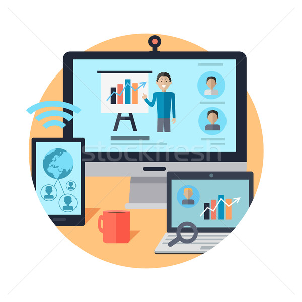 Online Seminar. Distance Work. Webinar. Vector Stock photo © robuart
