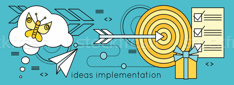 Ideas Implementation Background in Flat Stock photo © robuart