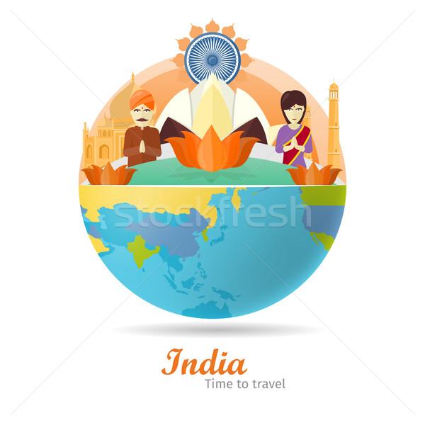 путешествия плакат туризма дизайна мира время Сток-фото © robuart
