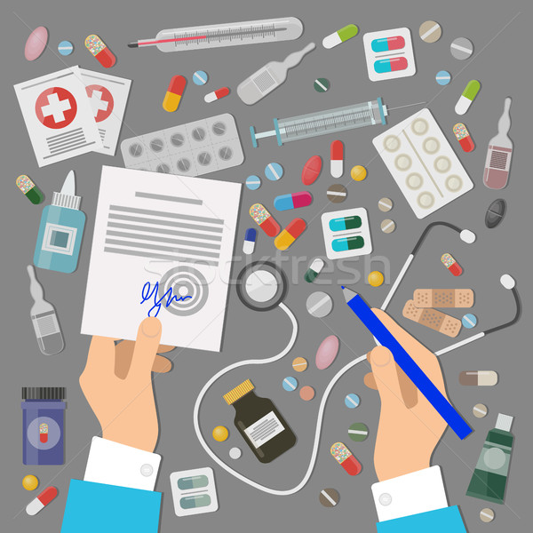 Banner zestaw medycznych recepta lekarza pigułki Zdjęcia stock © robuart