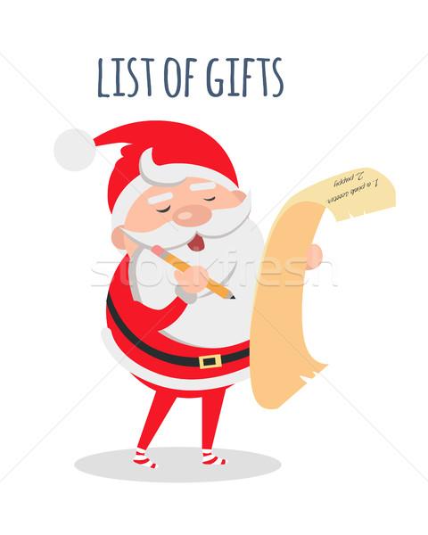 Listy prezenty Święty mikołaj życzenie wektora Święty mikołaj Zdjęcia stock © robuart