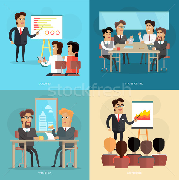 Business Meeting and Presentation Vector Poster Stock photo © robuart
